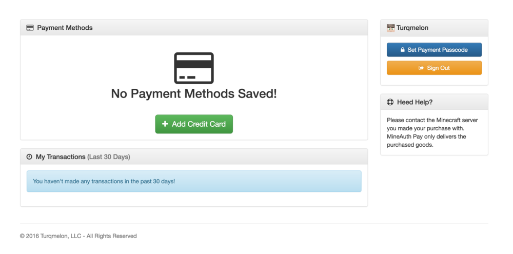 The original payment method dashboard