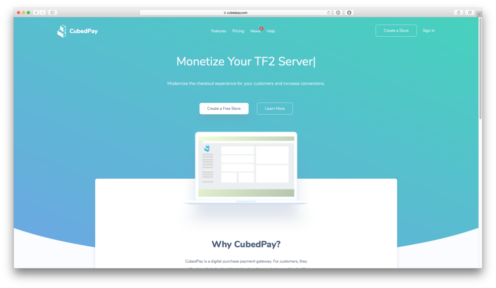 CubedPay - CubedPay is a modern payment solutions web application for the gaming commerce industry. Melon Development handled the look and feel, backend, and frontend behind the entire project to create a pleasant experience for both merchants and customers.