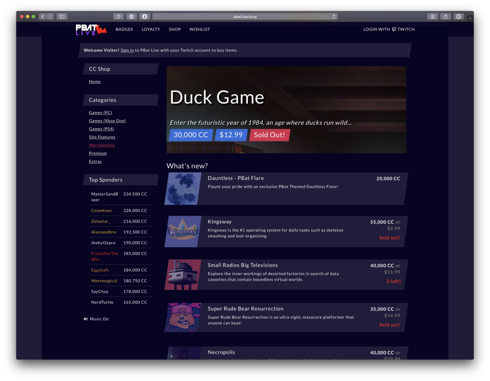 PBat Live - A truly one-of-a-kind experience. Complete with a built in shop to spend virtual currency, unlockable achievements, community goals, user profiles, and so much more: there really is nothing like the PBat Live experience.