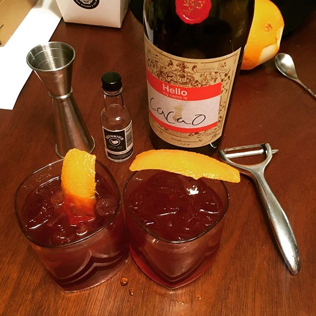 Aquavit Negronis with Cacao infused Carpano Antica.  #negroniweek