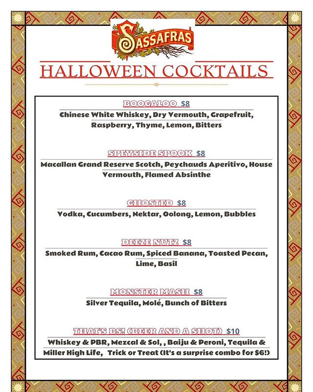 Come down to @sassafrassaloon in Hollywood for some crazy ass Halloween drinks! #sassafras #hollywood #halloween #cocktails