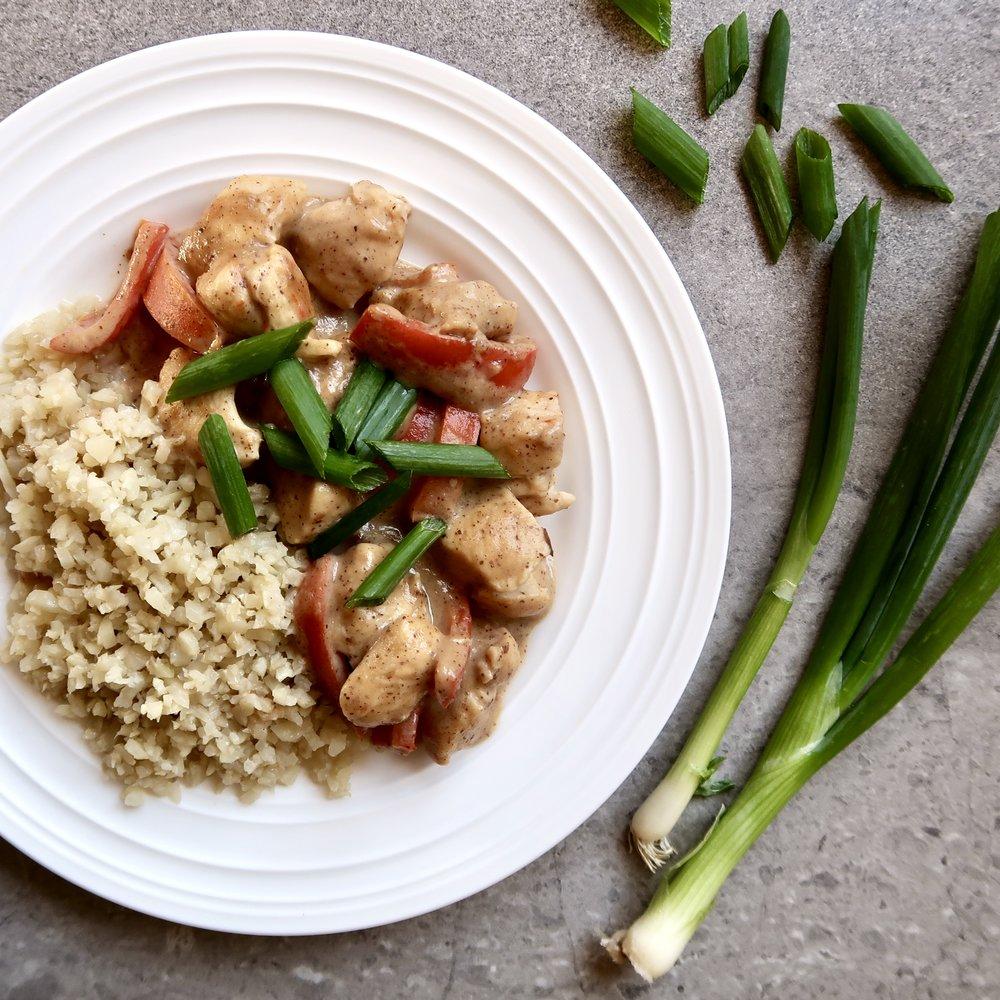 One Pan Chicken Satay with Cauliflower Rice