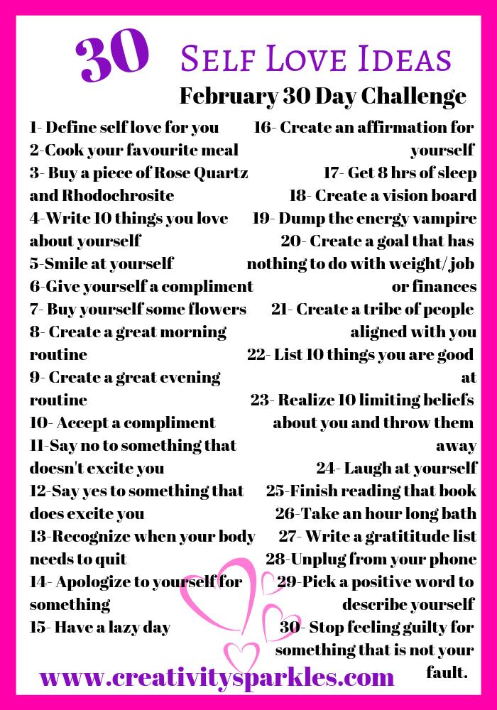 February Self love 30 Day Challenge