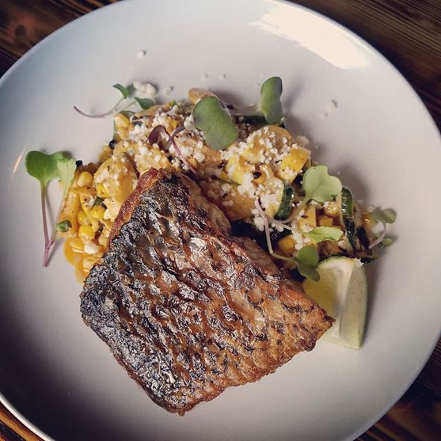 Tonights Specials!  1st - Crispy Skin Barramundi with Charred Calabacitas.  2nd - Corn Fritters with Roasted Jalapeno Aioli.