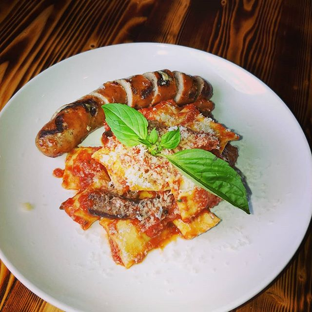 Tonight's Special! Spinach, Ricotta & Mascarpone Agnolotti with Portabella and Grilled Italian Sausage.