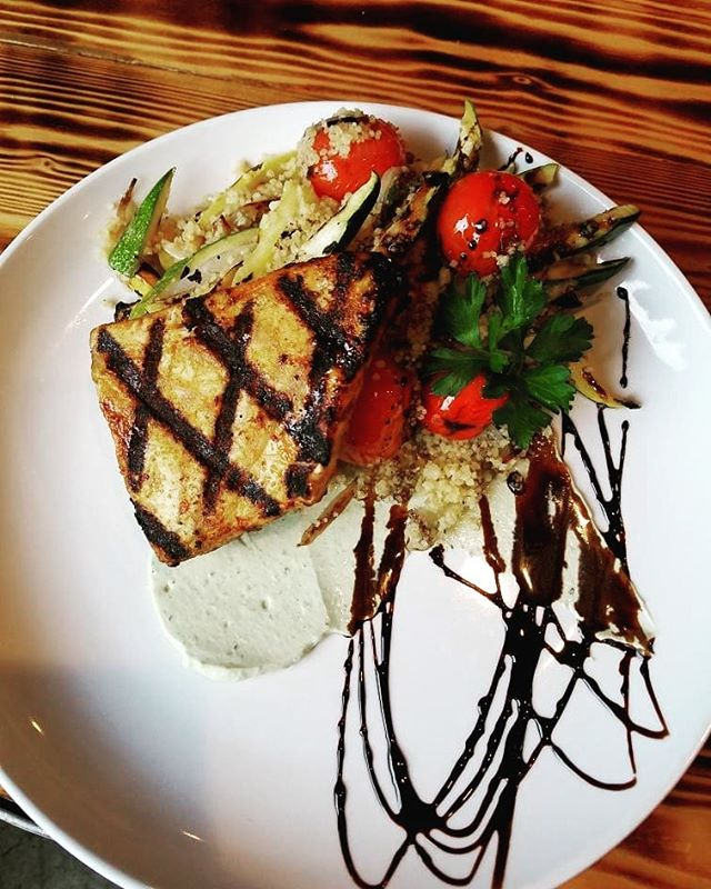 Tonight's Special! Mediterranean Moonfish w/ grilled veggie couscous over a lemon & basil yogurt sauce.