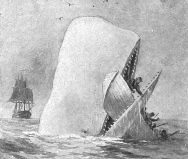 Ilustración de Moby-Dick (Imagen:A. Burnham Shute/Wikimedia Commons)