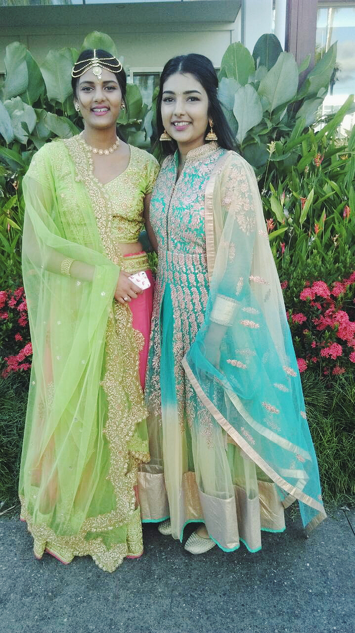Wedding Look    Bright colours for the bright event. Netting fabric was a fav this wedding paired with statement pieces of jewellery. You might recognise my sister wearing my Miss India Worldwide NZ lehnga (sister benefits) and my clothes are borrowed from my beautiful cousin sister so unfortunately don't know where its from. My jhumkas are back, check out the last time I wore them  here.