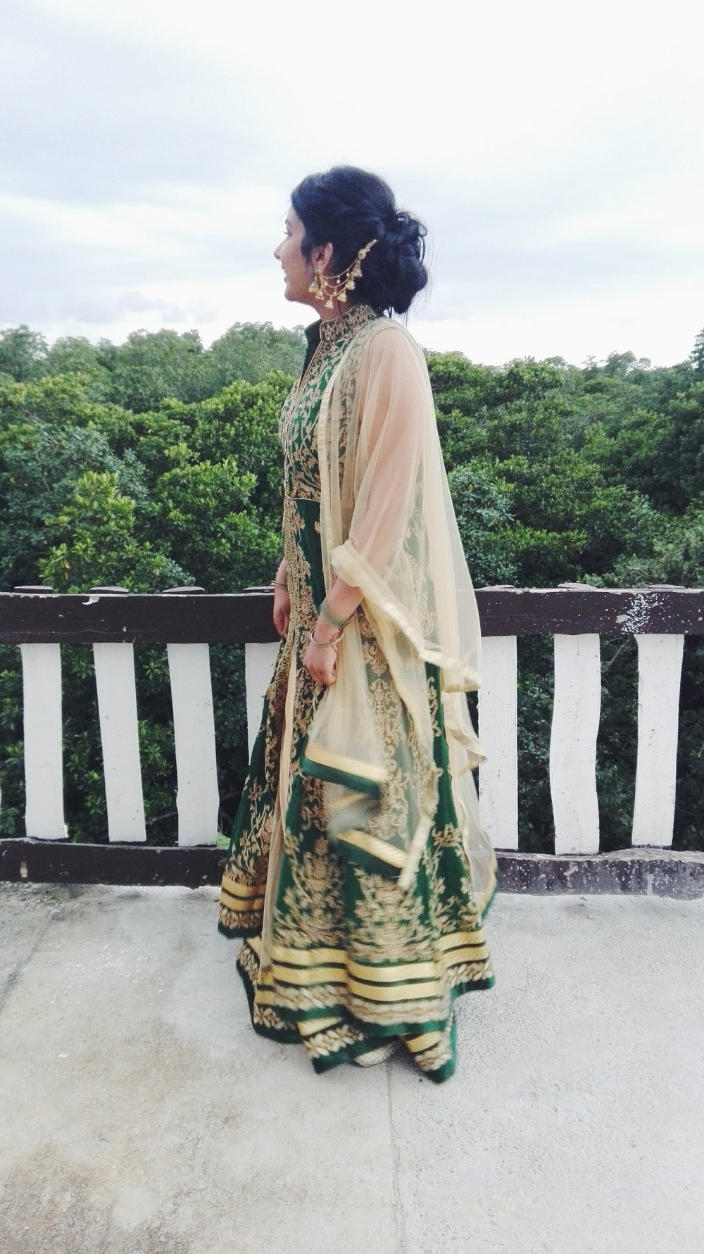 Haldi   Diwali look recycled for haldi ceremony. Absolutely in love with the multi-strand jhumkas or what shop owners like to call them, Bahubali earrings? For the day ceremony was wearing yellow (compulsory haldi colour), but deep green for night.