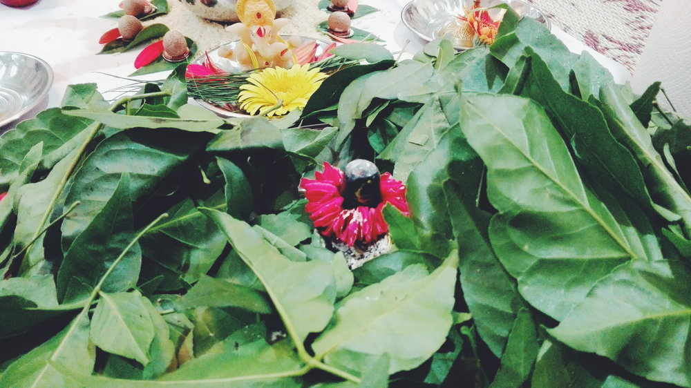 Shiv ji covered in bel patra (special leaf offering)