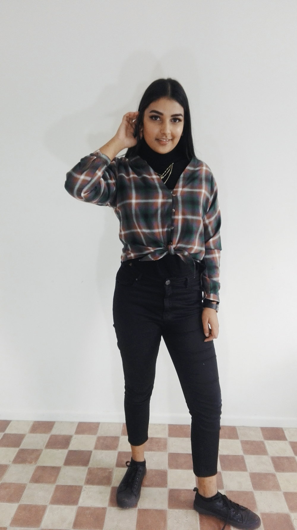 Layer a button down shirt over your turtle neck. Here I have plaid but plain print works just as well. Layered necklaces are my absolute fav right now, will talk about them in another blog post.