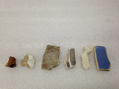 Record Number: 009 Collection Date: 10 April 2014  Description: Six river chards from Hudson River. Plastic, ceramic Dimension: vary
