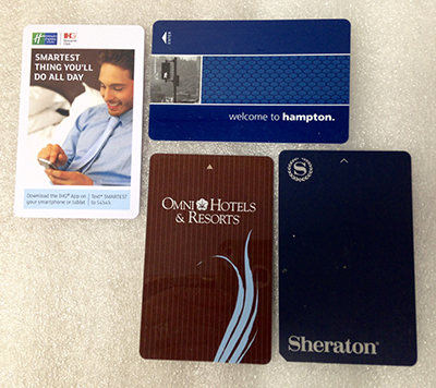 "Record Number: 027 Collection Date: 21 Oct 2017  Description: Three plastic hotel key cards, Holiday Inn, Omni, Sheraton Dimension: 2"" x 3.375"" ea"