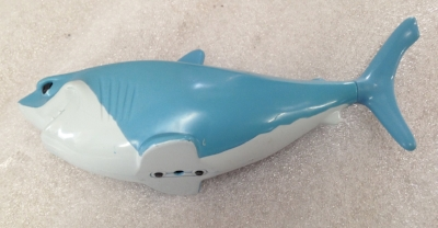 "Record Number: 037 Collection Date: 21 Oct 2017  Description: Shark bathtub toy, moveable fins Dimension: 2.5"" x 6.75"" x 2"""