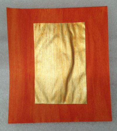"Record Number: 038 Collection Date: 21 Oct 2017  Description: Joss paper(aka ghost money), gold rectangle Dimension: 8"" x 7"""