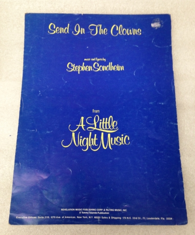 "Record Number: 053 Collection Date: 20 Nov 2017  Description: Sheet music, Send in The Clowns by Stephen Sondheim Dimension: 12"" x 9"""