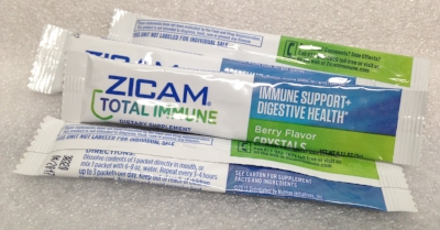 "Record Number: 069 Collection Date: 21 Oct 2017  Description: Zicam, immune support, white powder Dimension: 1"" x 4.75"" each"