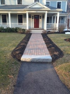 Paver walkway with granite steps
