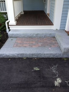 Granite steps with paver landing