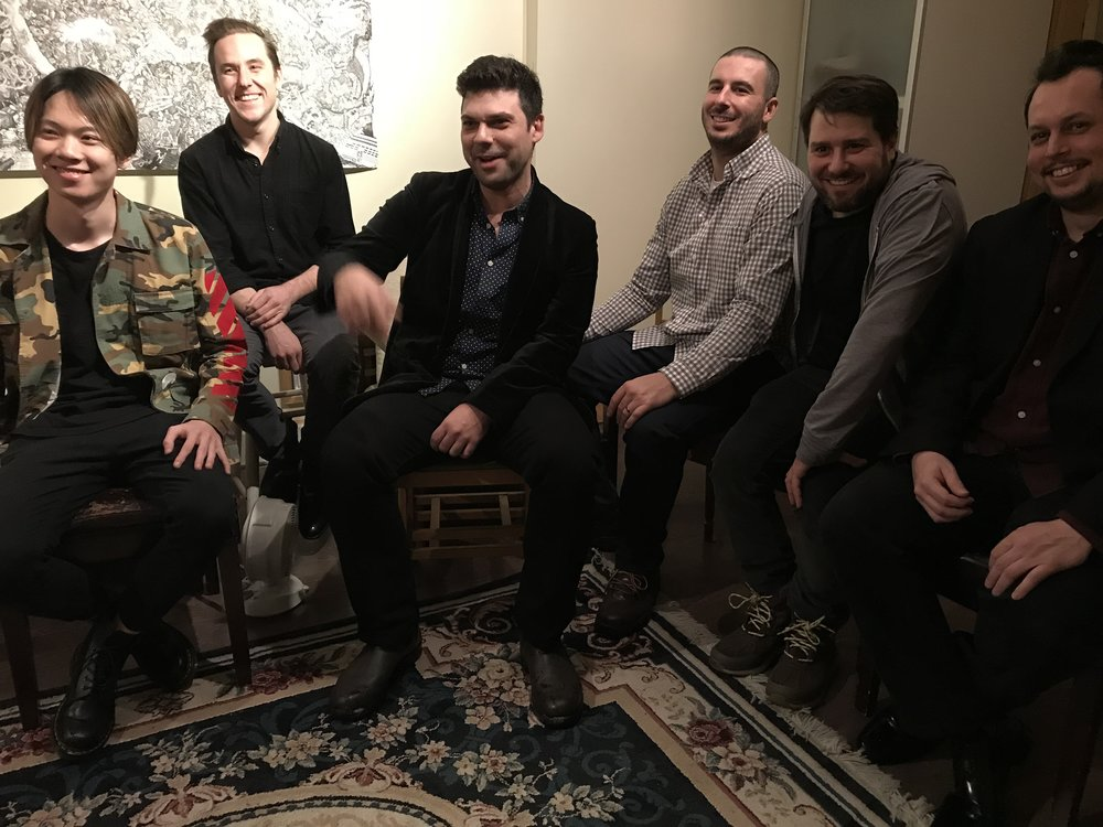 The band takes it easy after the set in the 'Sparrow's Nest'. (Left to Right: Kennedy Liu, Ryan MacKellar, Jordin Mimran, Brandon Pike, Elliott Fienberg, David Lara Rovira)
