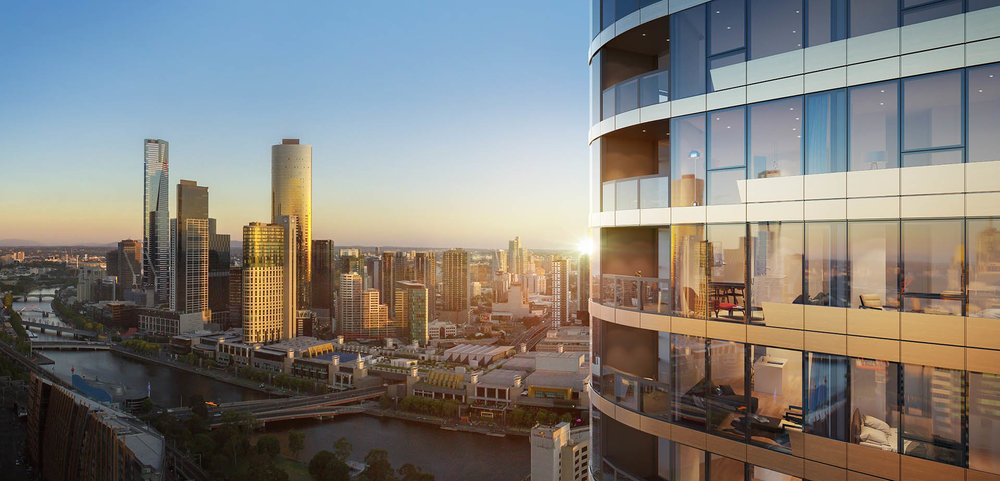Melbourne Quarter: Residential tower with Yarra River view beyond