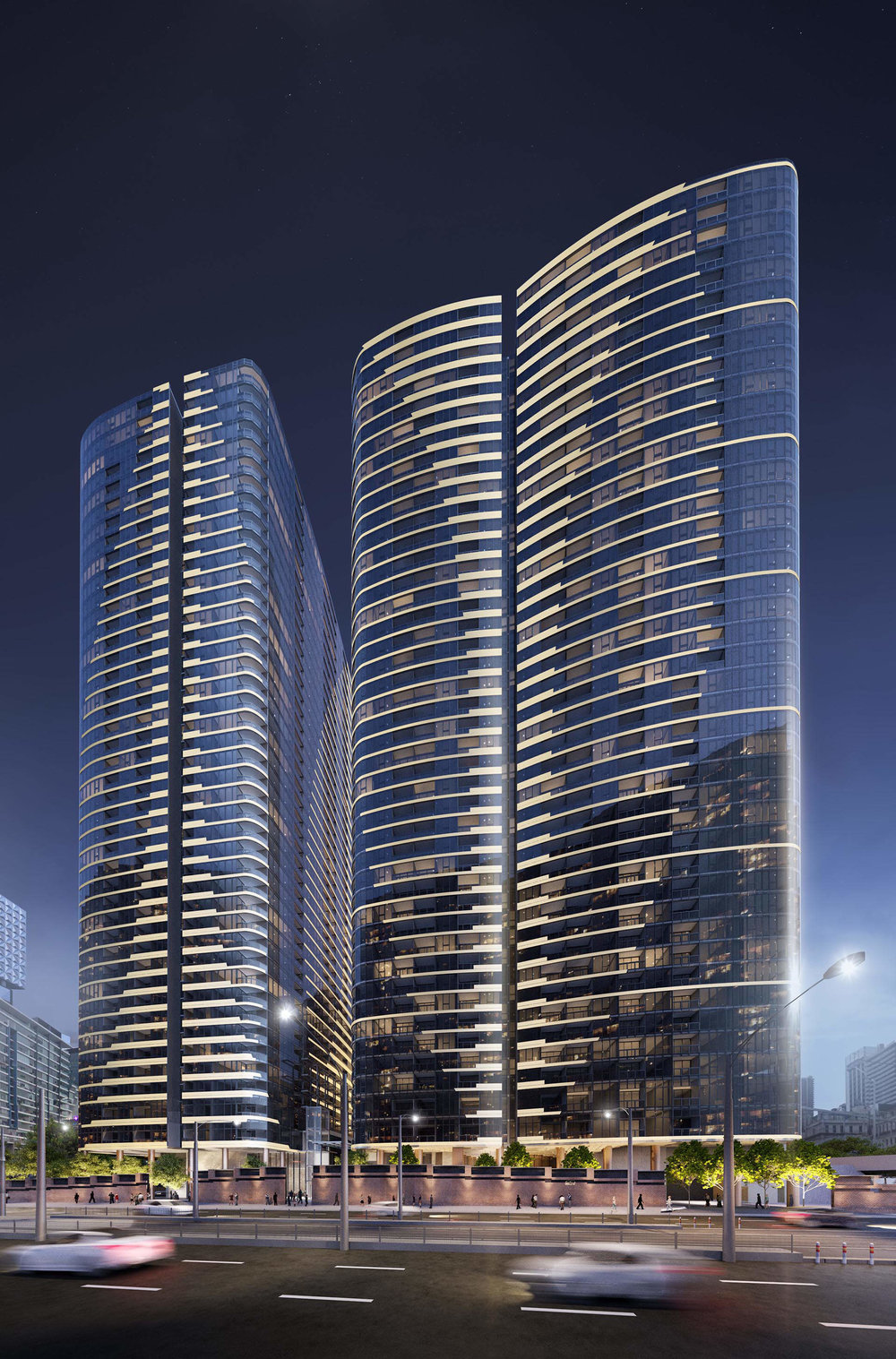 Melbourne Quarter: Flinders Street view to residential towers