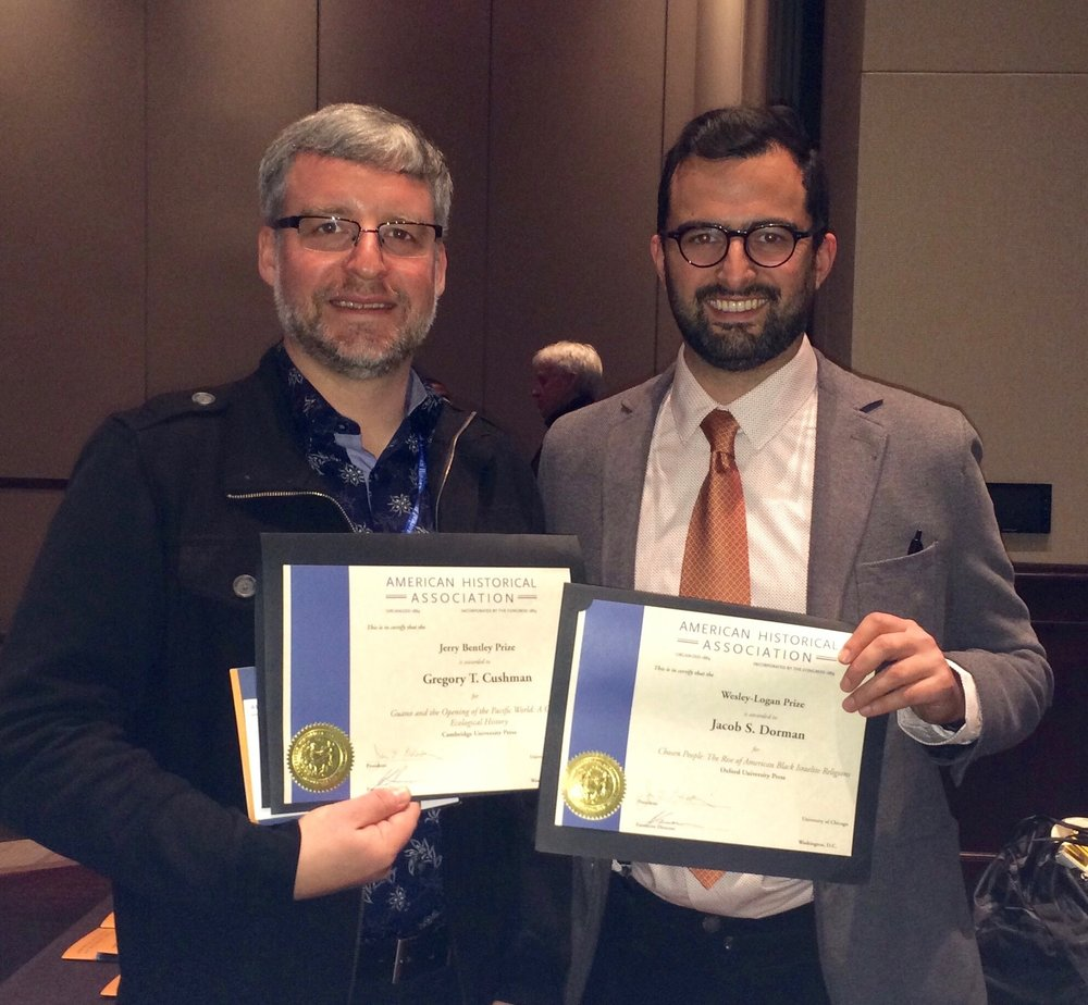 - Me and my colleague Greg Cushman with our American Historical Association Book prizes. My book won two other awards, the Albert J. Raboteau Prize in Africana Religions, and the Byron Caldwell Smith Prize from the Regents Universities of Kansas. It was also named a CHOICE Outstanding Academic Title.