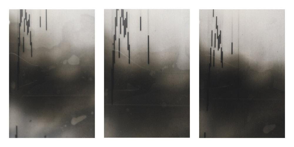 """Rain Abstract, 12"""" x 30"""", Mixed Media Photography"""