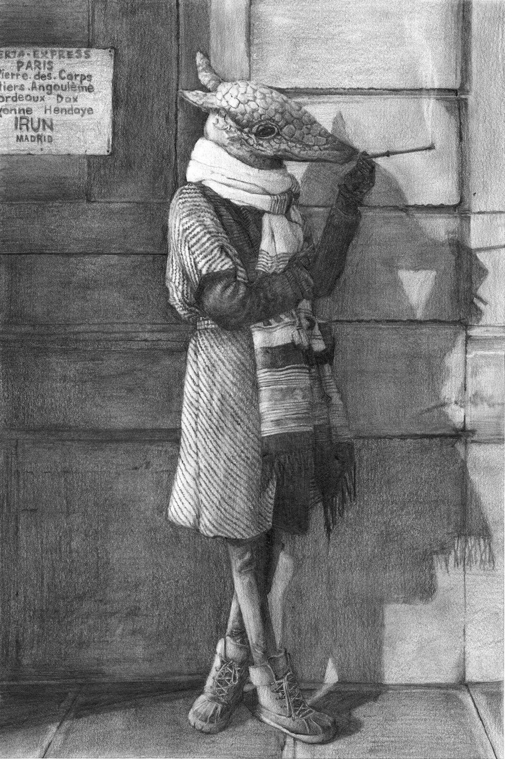 "Lady De Lo, 18"" x 24"", Graphite"