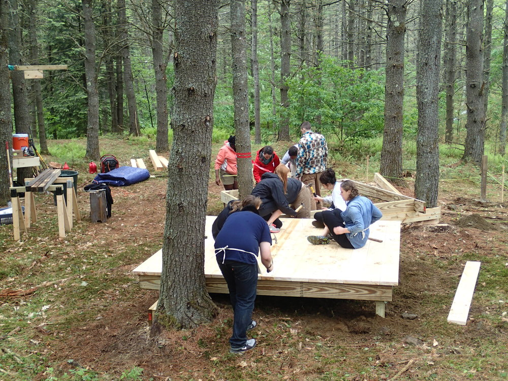Day 1 - Upon visiting the site, we began sketching and designing as a group, by nightfall, the post, beam, joist and decking of the three platforms have been constructed.
