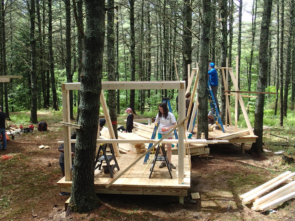 Day 2 & 3 - Framing the structure of the rooms and tapered roof.