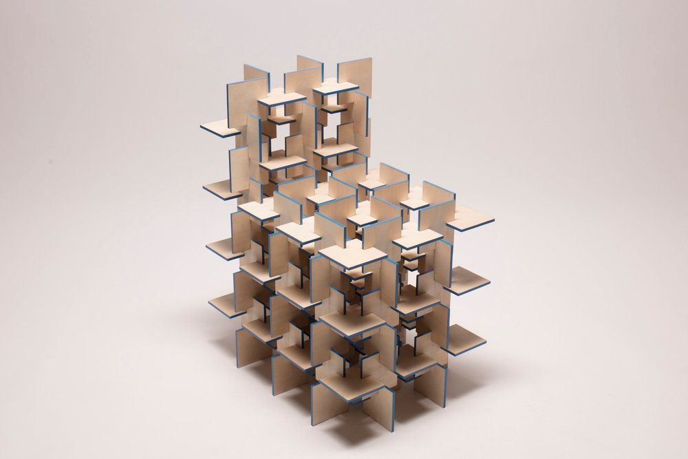 Repetition - The plane chair is an exploration on repetition, specifically the repetition of planes. Taking a modular design approach, the chair is composed of three parts, 178 pieces in total. A dynamic pattern and structural rigidity to hold a person is generated through the intersection of planes. Combining laser cutting and handcrafting techniques, the chair is completely held in tension. This project presents a vision of an expandable flat pack chair that people can build at home.