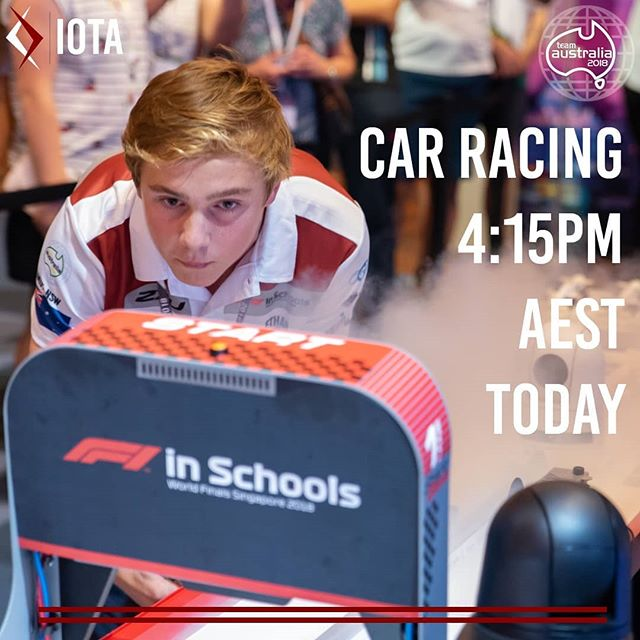 Tune in at 4:15pm AEST to watch our second race of the competition! This time we will be up against Cyprus!  https://www.youtube.com/F1inSchoolshq  #F1SWF #F1SWFmoment #RacingInSingapore #TeamAustralia