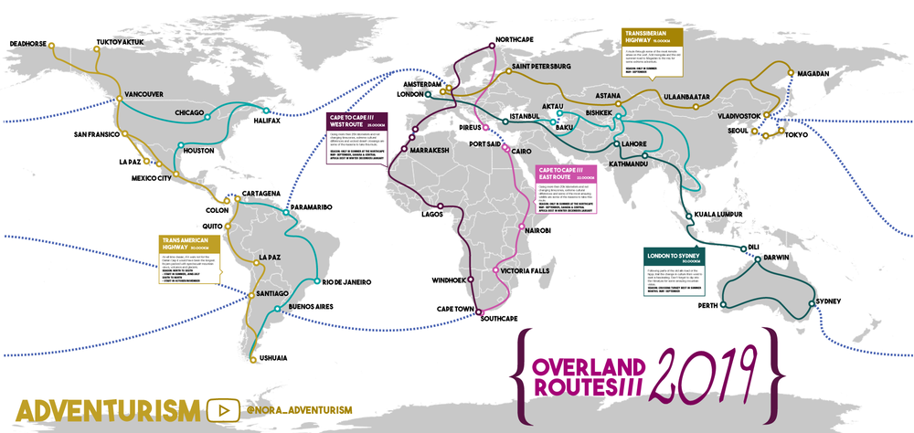 Map with the common routes traveled by overlanders.