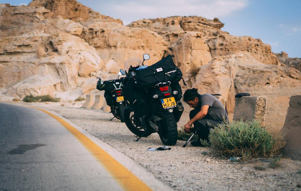 A flat tire in Jordan.