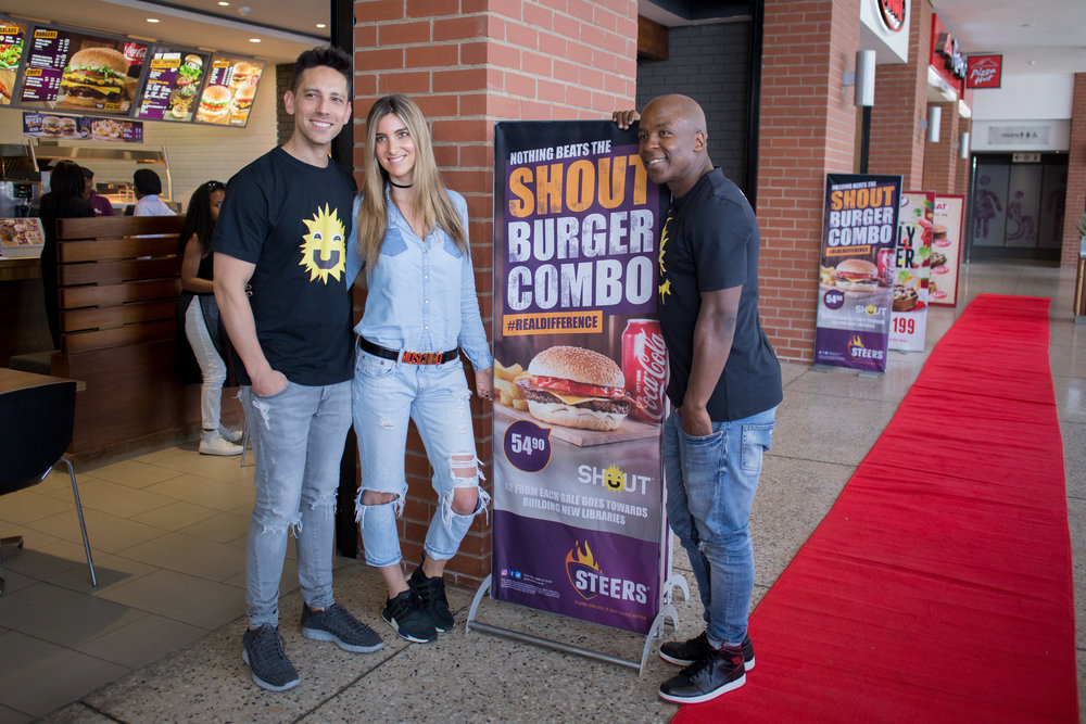 Danny K, Lisa Koppel & Kabelo Mabelane, Steers SHOUT Burger Media Launch.jpg