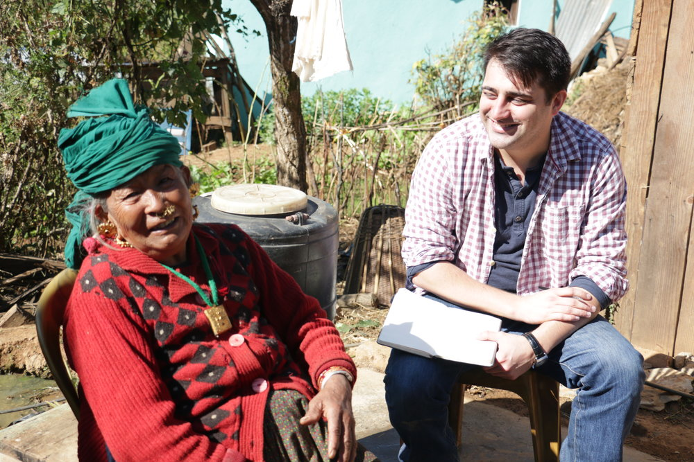 Interviewing a villager in rural Nepal