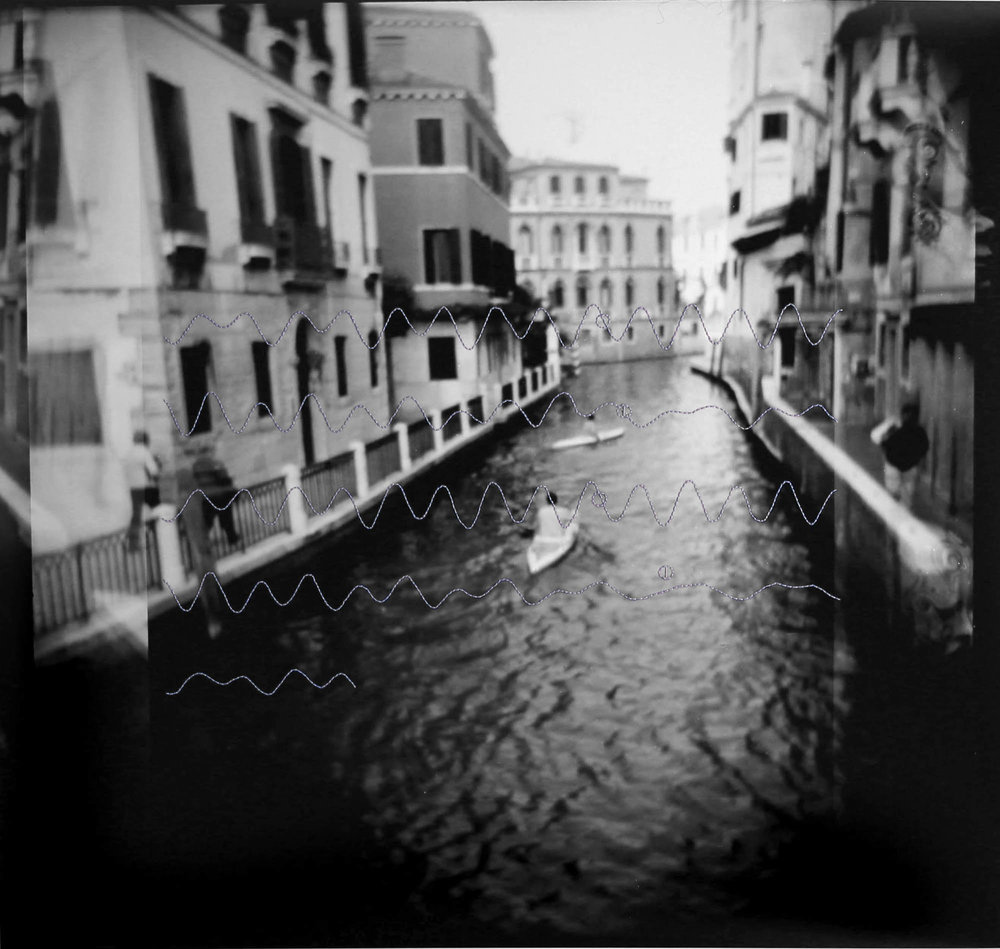 100x100mm hand-embroidered print; graphic of the tides of Venice in May 2013