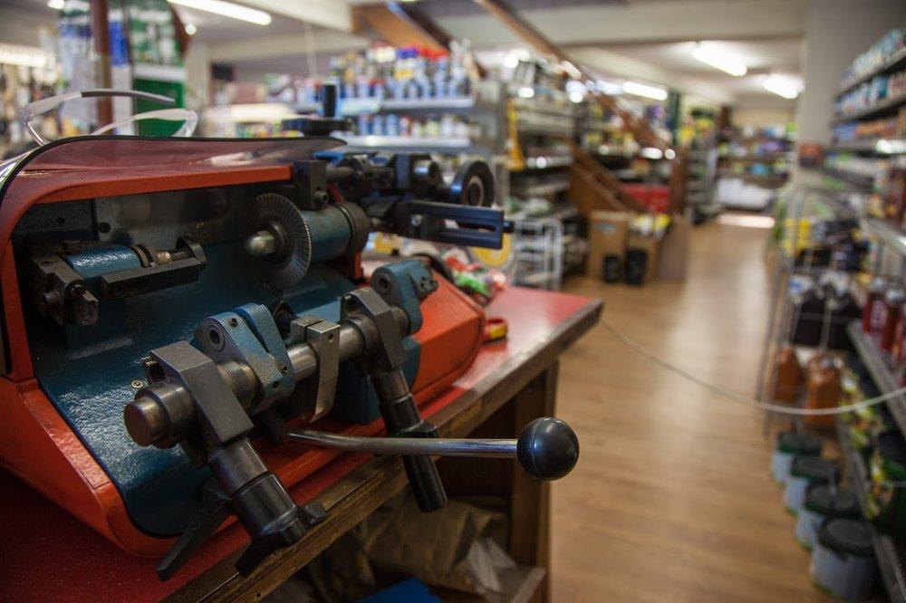 The trusty old key cutting machine.