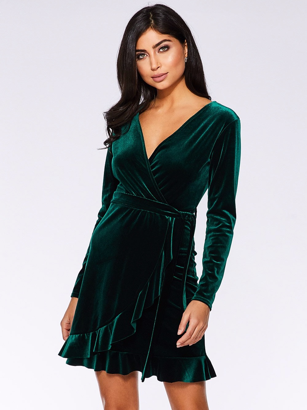 Bottle Green Velvet Wrap Long Sleeve Dress (£36.99)