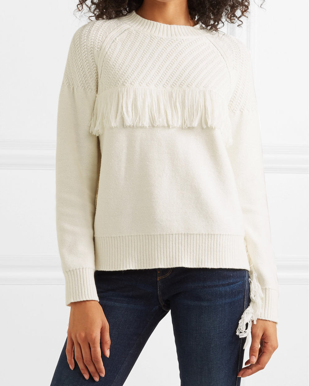 Frame Fringed Cotton-blend Sweater (£130)