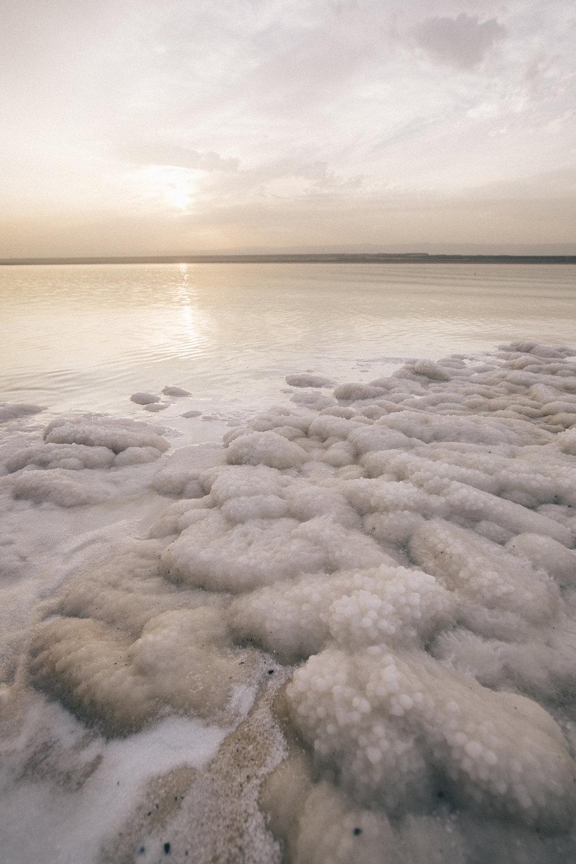 Croûte de sel, mer Morte