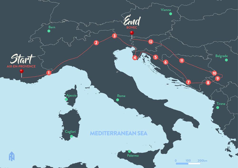 1 :  Sospel,  FR  -  2 :  Moline,  IT  -  3 :  Antorno lake,  IT  -  4 :  Barbariga,  CRO  -  5 :  Stajnica,  CRO  -  6 :  Una river,  BOS  -  7 :  Medugorje,  BOS  -  8 :  Zabljak,  MON  -  9 :  Nova Varos,  SER  -  10 :  Kremna,  SER  -  11 :  Banja Luka,  BOS  -  12 :  Podlipovica,  SLO
