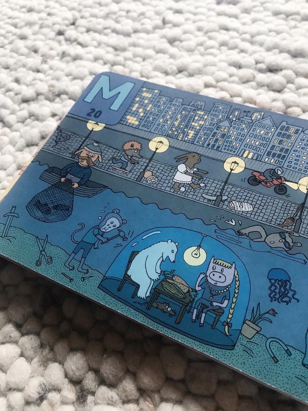 """Magnet. Maus. Maske. Motorrad. Was trägt noch den Anfangsbuchstaben """"M"""" im Bild?"""