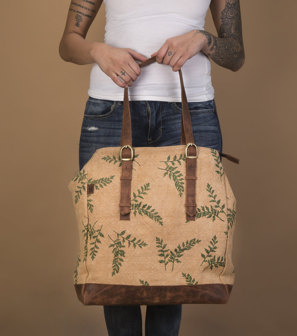 Camel tulsi printed tote with leather base.jpg