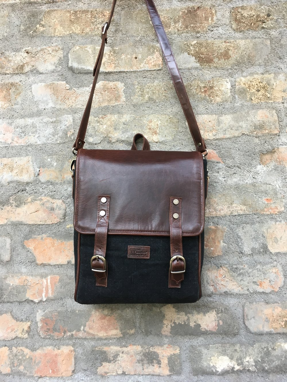 Black Satchel with dark brown leather .jpeg