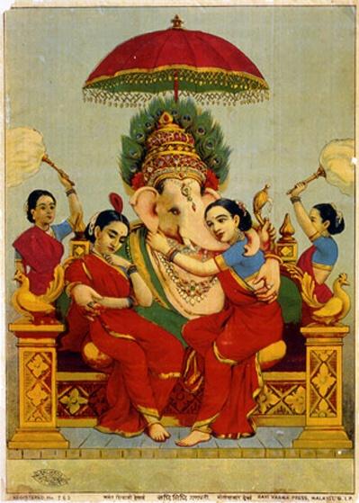 Ganesha med konene Siddhi og Riddhi. Maleri av Raja Ravi Varma.  Fra WikiCommons .