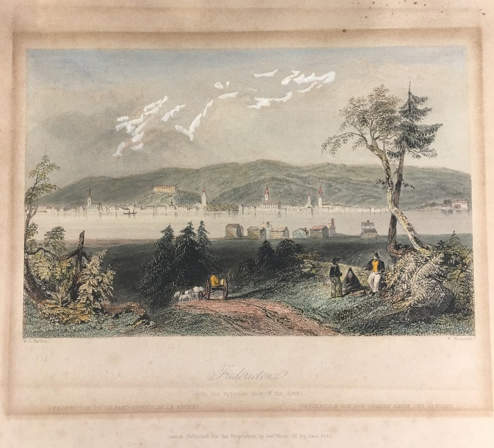 W.H. Bartlett Hand Colored Etching Fredericton Published by George Virtue 1842