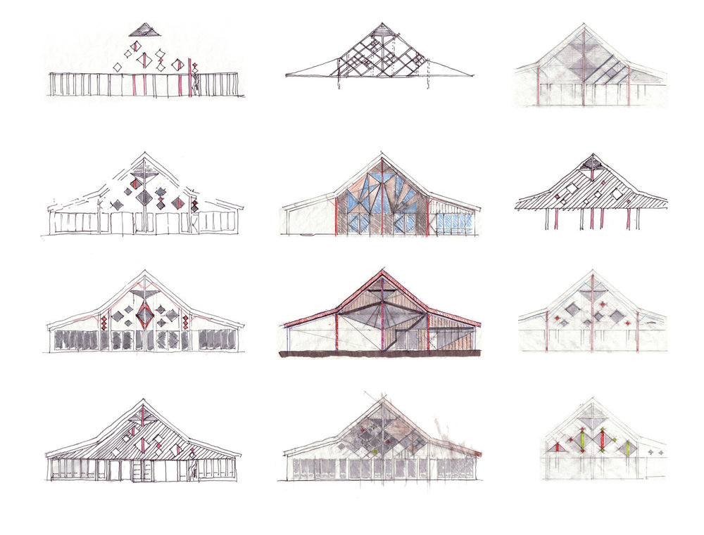 Design explorations of the south facade of the visitor centre.