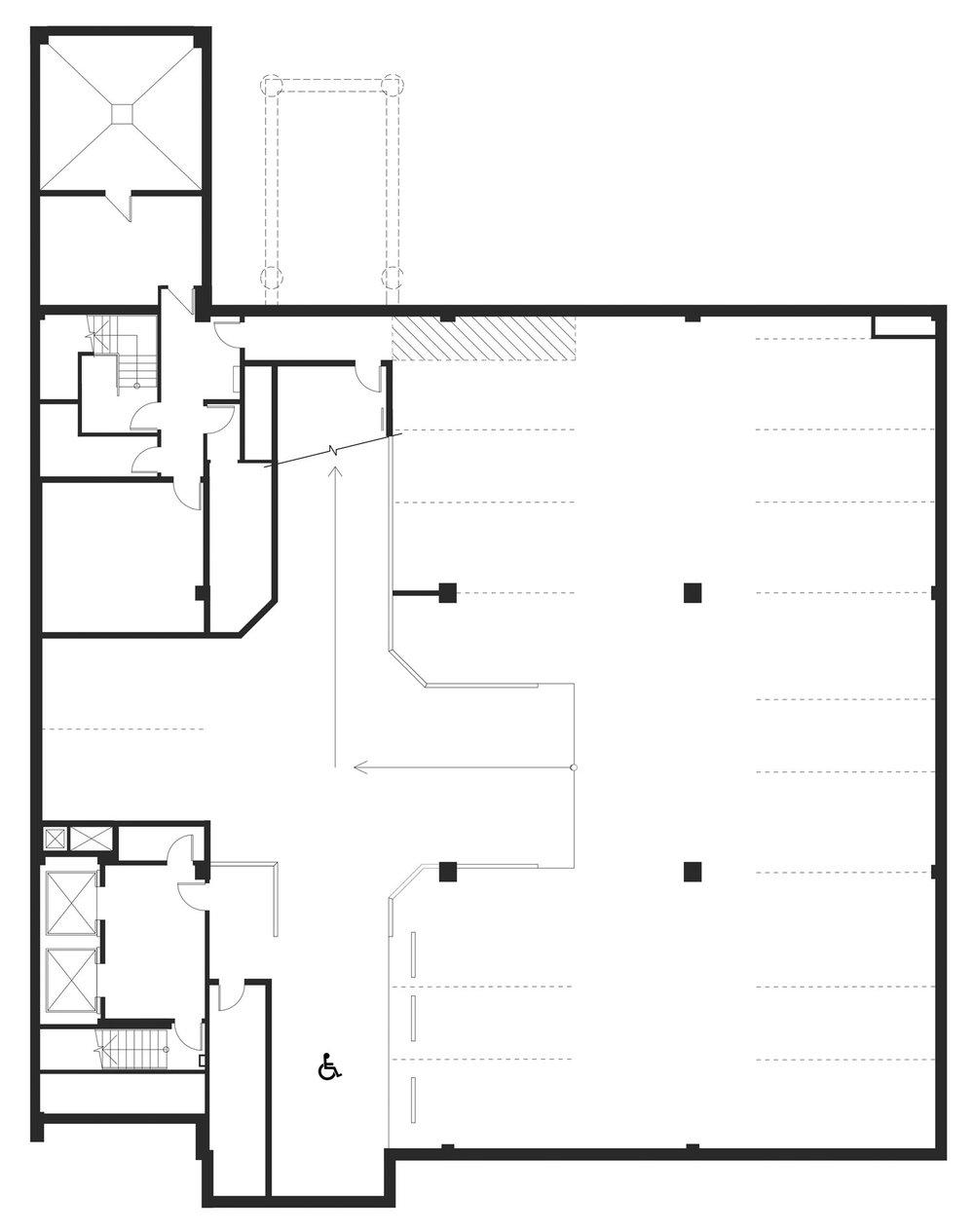….The basement was converted from office space to a parking garage. ..Le sous-sol, autrefois utilisé comme espace de bureaux, a été converti en stationnement. ….